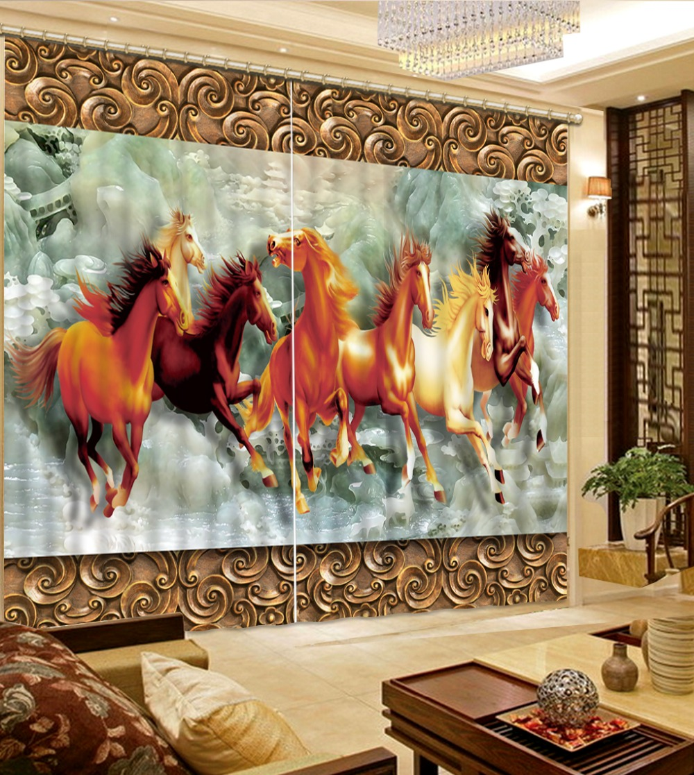 Customize 3d Blackout Curtains Eight Horses For Living Room Kitchen Embroidered Voile In From Home Garden On
