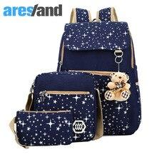 Aresland 3 шт. Для женщин опрятный школьная сумка рюкзак холст Рюкзаки для подростков Обувь для девочек студент рюкзак высокого Школьные сумки рюкзаки