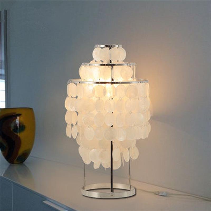 Us 157 04 20 Off Modern Table Lamp Unique Style Capiz Ss Polished Chrome Light Bedroom Bedside Lighting Fixtures Home Decor Desk Lights In