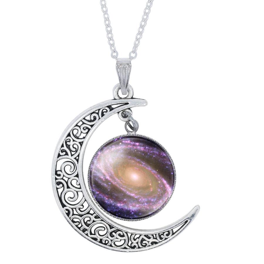 1Pcs Women Galaxy Universe Crescent Moon Glass Cabochon Pendant Necklace New