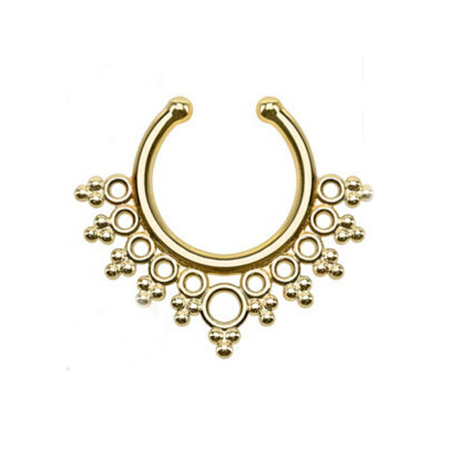 Creative 2PCS 1Lot Gold Color Fake Nose Ring Jewelry Fake Septum