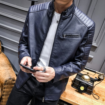 2019 New Spring Korean Version of the Locomotive Trend Casual Coat Street Fashion Men's Leather Jacket Fashion Male Coat
