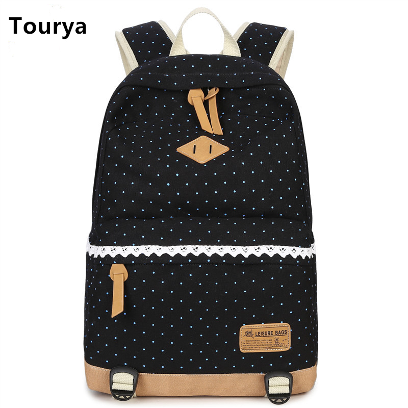 Tourya Vintage Canvas Women Backpack Cute Shoulder School Bags For Teenagers Girls Dot Printing Schoolbag Laptop Bagpack Mochila free shipping infant children cartoon thick coral cashmere blankets baby nap blanket baby quilt size is 110 135 cm t01 page 8