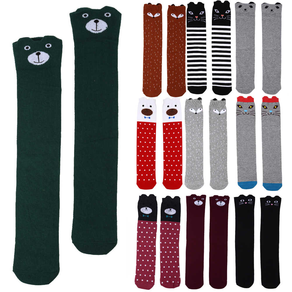Cute Cartoon Kids Girls Sock Animal Printed Cotton Baby Kid Sock Knee High Long Fox Socks For Toddler Girl Clothing Accessories
