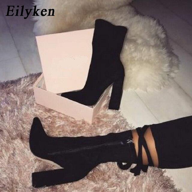 Eilyken 2020 חדש פלוק קרסול מגפי נשים לסתיו חורף אופנה מחודדת הבוהן העקב רוכסן אישה מגפי צ לסי בתוספת גודל 35 42