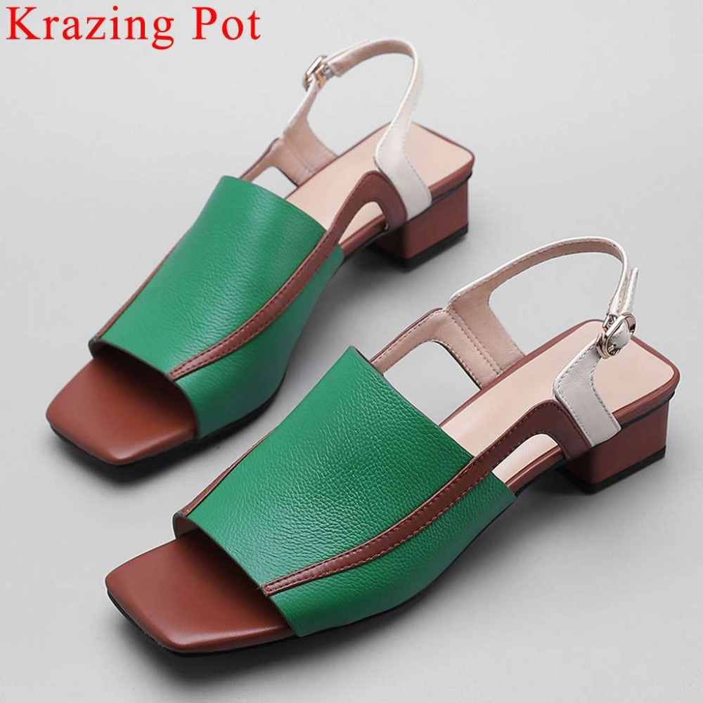 Large size 2019 office lady chunky heels mixed colors peep toe buckle strap vintage gladiator shoes natural leather sandals L6f1