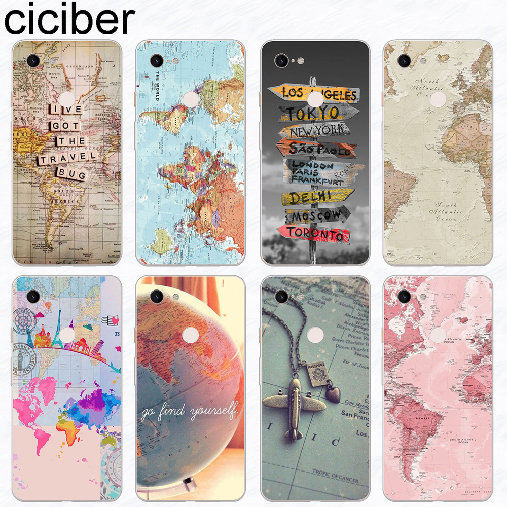 Ciciber World Map Travel Plan Phone Case Funda For Google Pixel 3 2 XL Soft Silicone Cover For Google Pixel 3XL 2XL Coque Capa
