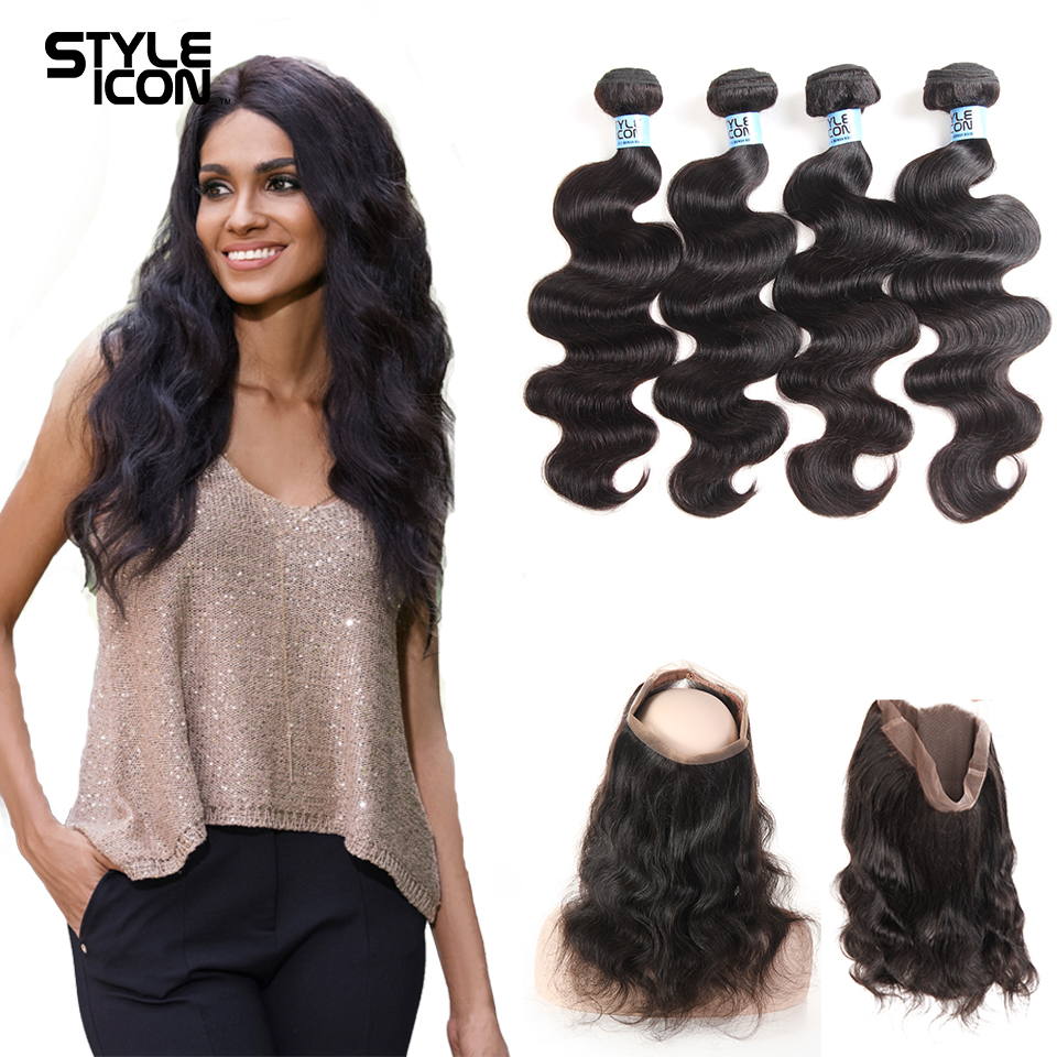 Styleicon 360 Lace Frontal With Bundle Peruvian Body Wave Non Remy Human Hair Weave 4 Bundles With Pre Plucked Frontal Closure 3/4 Bundles With Closure Hair Extensions & Wigs