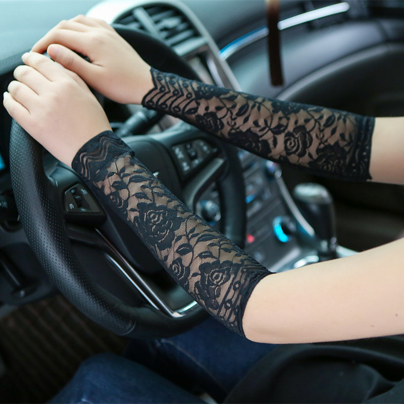 30cm Long Lace Gloves Women Summer UV Protection Lace Cuff Elbow Sleeves Scar Covered Fingerless Sunscreen Driving Gloves AGB654