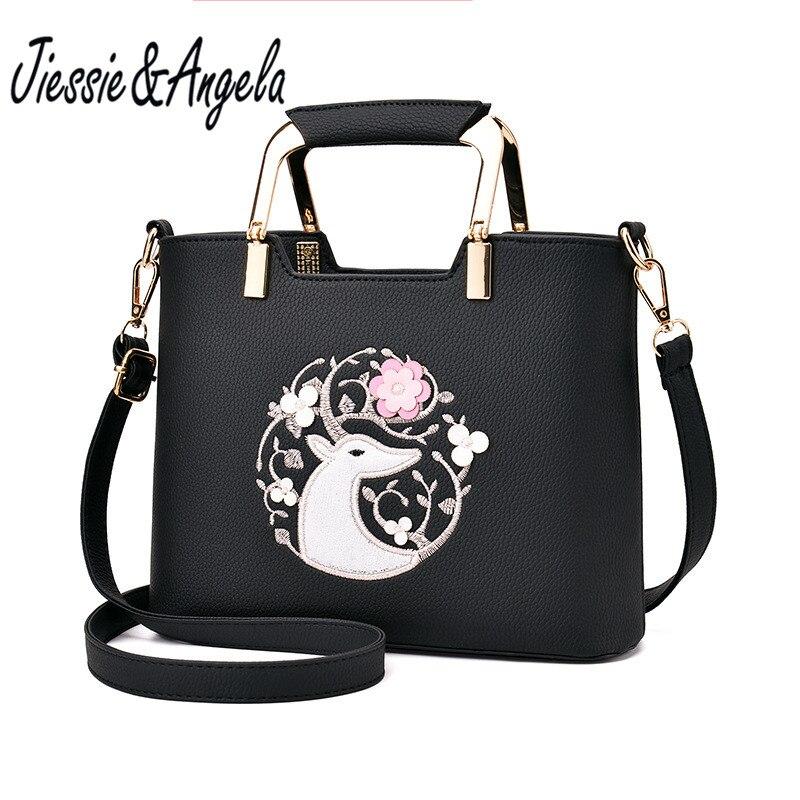 Jiessie & Angela Fashion Women Leather Bag Ladies Tote Bag Casual Handbag Femal Shoulder Purse sac a main Bolsa