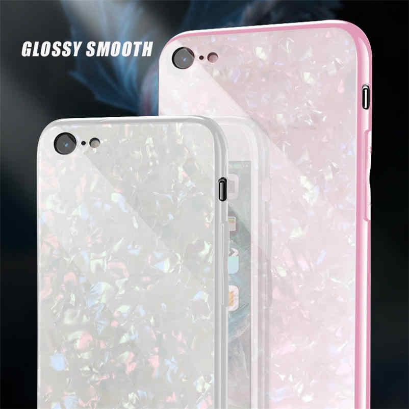 Mimpi kecantikan Shell Desain Kasus Untuk iPhone 6 Case Glossy Untuk iPhone X 8 7 6 Ditambah Lembut Bingkai + Kaca Keras Telepon Kembali Sampul Coque