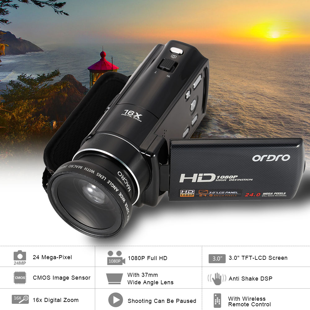 ORDRO HDV-V7 1080P Digital Video Camera With 0.45X Wide Angle Lens 3.0