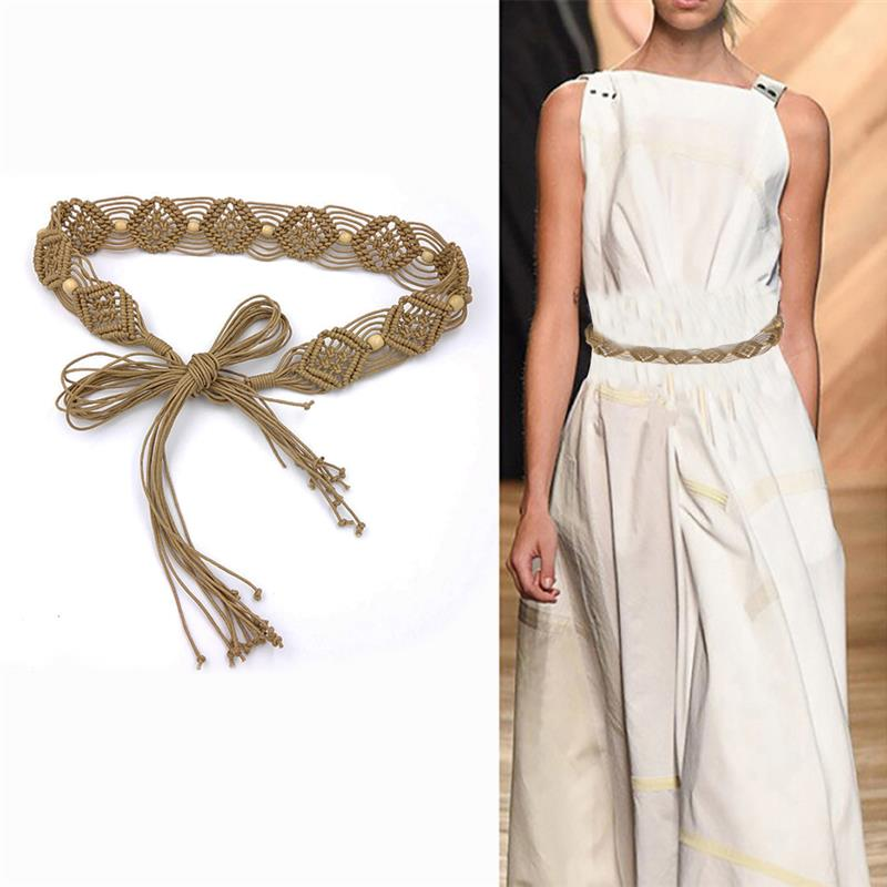 2018 New Vintage Bohemian Style Knitted Braided Belts For Women Wide Decoration Fashion Female Dress Belts Khaki