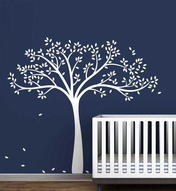 Große Weiße Baum Wandtattoo Monochromatische Herbst Erweiterte Geschlecht Neutral Baby Kinderzimmer Dekor Tapete Vinyl Wandaufkleber