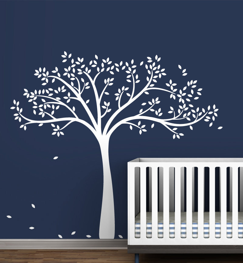 Large White Tree Wall Decal Monochromatic Fall Tree Extended Gender