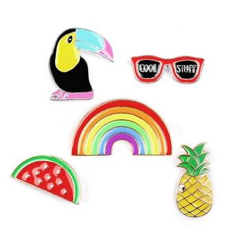 DoreenBeads 3D Fashion Badges Bird Watermelon Pineapple Sunglasses Enamel Pin Brooches for Women T Shirts Collar Jeans Coat Bag дамски часовници розово злато