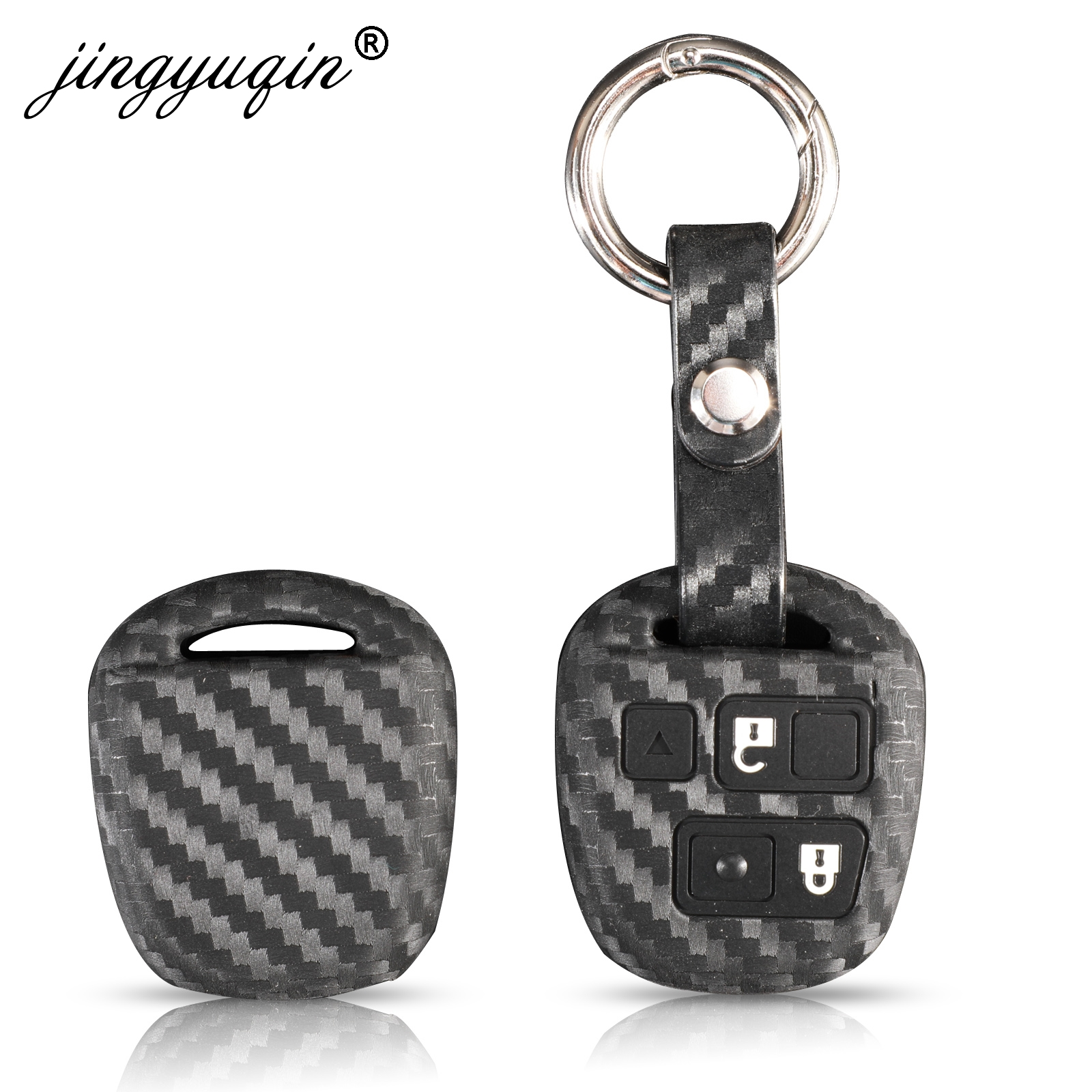 HYFQD Car Key Cover Suit for Toyota,with Keychain Special Soft TPU Key Fob Case for with 2018-2020 Toyota RAV4 Camry Avalon C-HR Prius Corolla Accessories