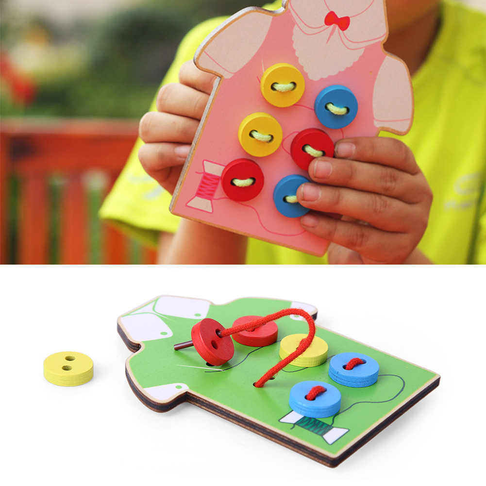 Kids Educational Toys Children Beads Lacing Board Wooden ...