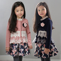 Spring Autumn Baby Girls Coat Long Sleeved Lace Jackets Children Princess Flower Cardigian Jacket Kids Outwear Clothes Pink/Blue