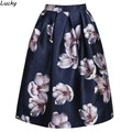 Fall Painting Flower Print Skater Skirt Pleated High Waist Women Midi Swing Skirt 63#