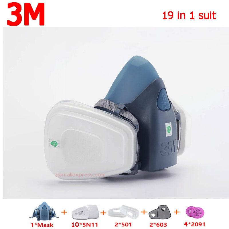 Masque Anti-poussière 19 en 1 3 M 7502 N95 masque Anti-pollution industriel en Silicone avec masque à gaz 603/5N11/2091