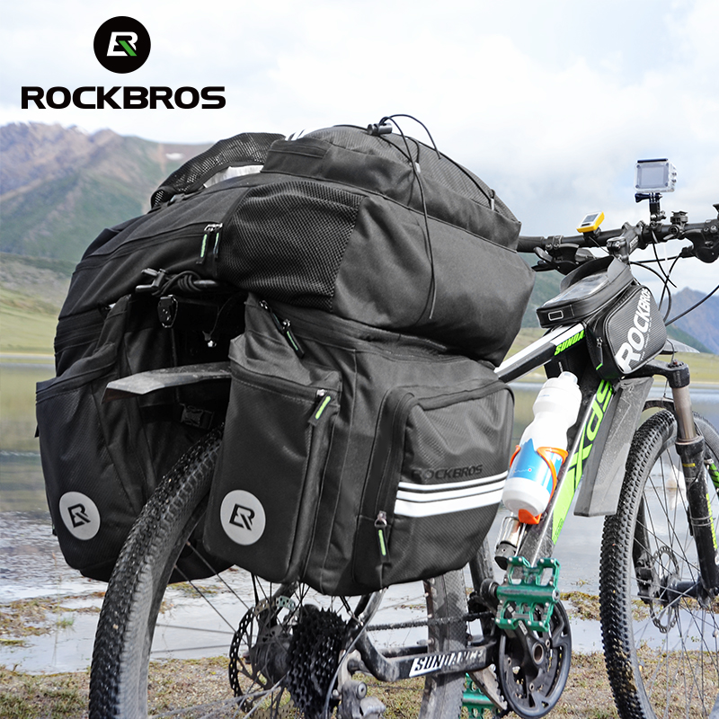 ROCKBROS 3 in 1 Waterproof Bicycle Bag Travel Pannier 48L MTB Mountain Bike Rack Bag Bicycle Rear Seat Trunk Bag With Rain Cover coolchange bicycle bag reflective bike bicycle rear seat trunk bag cycling carrier bag rack panniers waterproof with rain cover