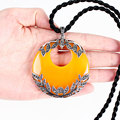 Vintage камень агат пончик желтый халцедон кулон круглая цифра завод большой нефрита ретро стерлингового серебра 925 ювелирные изделия для женщин