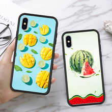 Cartoon Cute Watermelon Fruit Pattern Phone Case For iPhone X XS MAX XR Summer Yellow Mango Cases Back Cover For iPhone 6 6s 7 8 stylish maya pattern carbonized bamboo back case for iphone 5c yellow brown