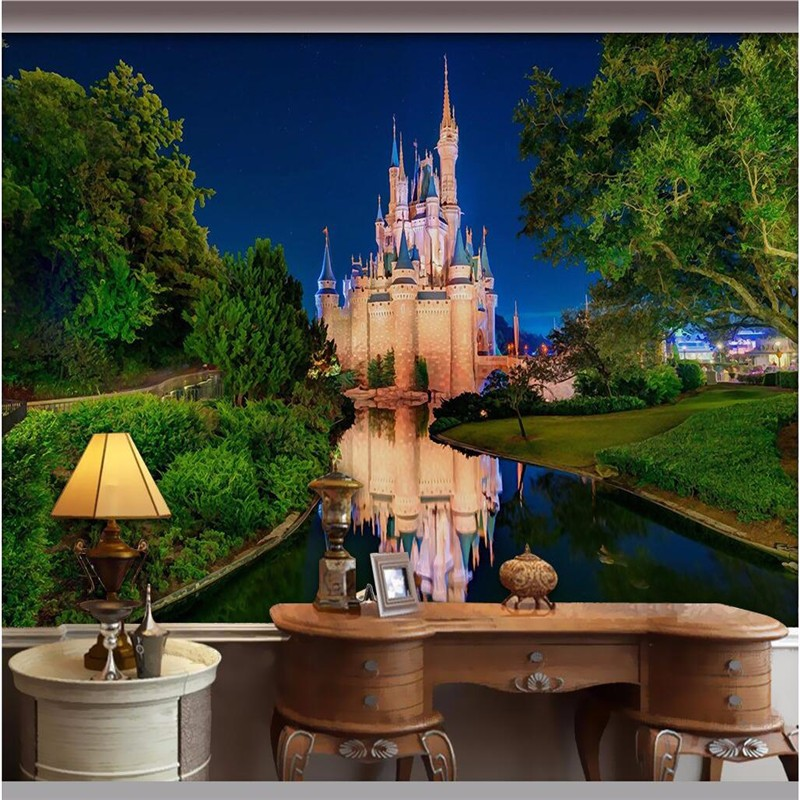 Beibehang Wall Paper 3d Mural Decor Picture Backdrop Modern Castle Night  Color Art Restaurant Wall Painting Mural Panel