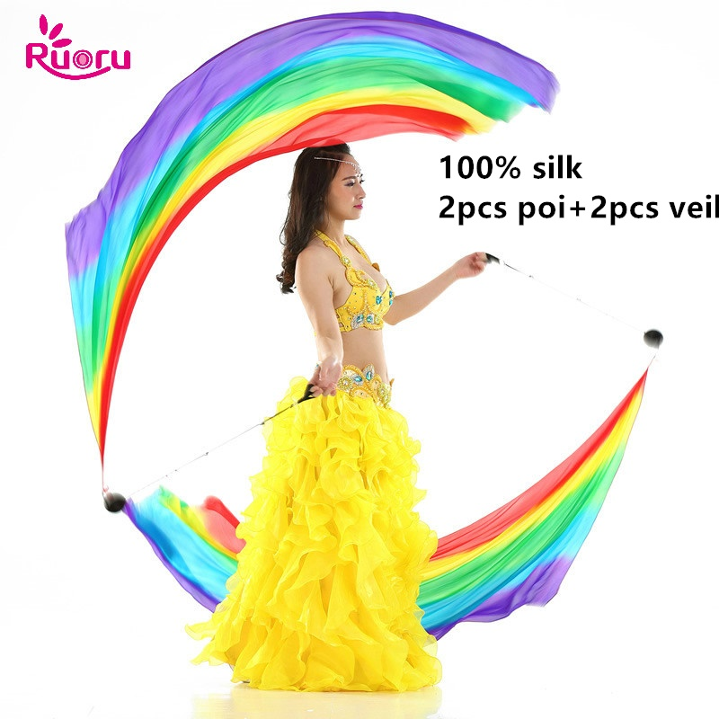 Ruoru 100% Silk 2pcs Silk Veil+2Pcs Poi Chain Ball Women Belly Dance Silk Veil Poi Streamer Stage Props Rainbow Color Gradient