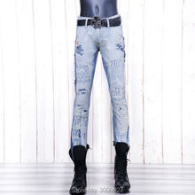 high quality 2017 New Arrival CosMaMa brand mens solid designer korean fashion slim skinny overall denim Punk biker ripped jeans