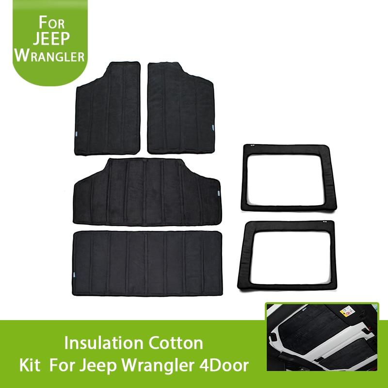 Black Car Interior Parts Rear Window and Hardtop Sound Deadener Insulation Kit for 2011-2018 Jeep Wrangler JK Unlimited 4-Door