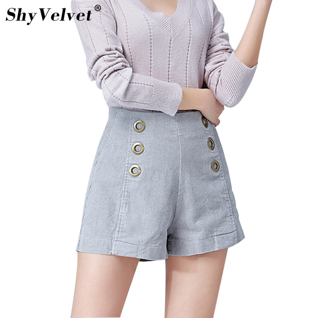 2018 Summer New Style Women Shorts High Waist Corduroy Shorts Loose Wide Leg Shorts Feminino