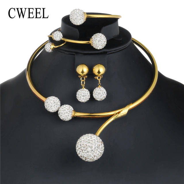 CWEEL African Beads Jewelry Set in Gold Color Bridal Jewelry Sets For Women Indi