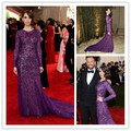 MGC01 New Fashion abiye Alison Brie Purple Long Sleeves Met Gala 2015 Celebrity Dresses elbise Evening Dresses Evening Gowns
