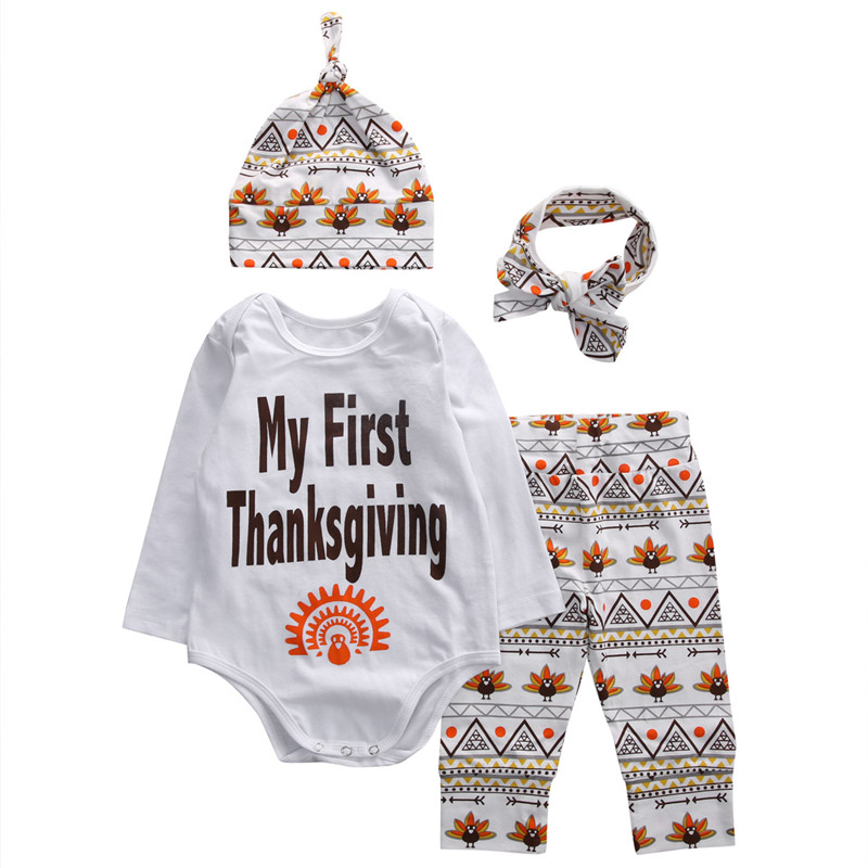 Thanksgiving Clothing Newborn Baby Girl Boys Clothes Long Sleeve Romper+Pants+Hat+Headband 4pcs Outfits Baby Clothing Set