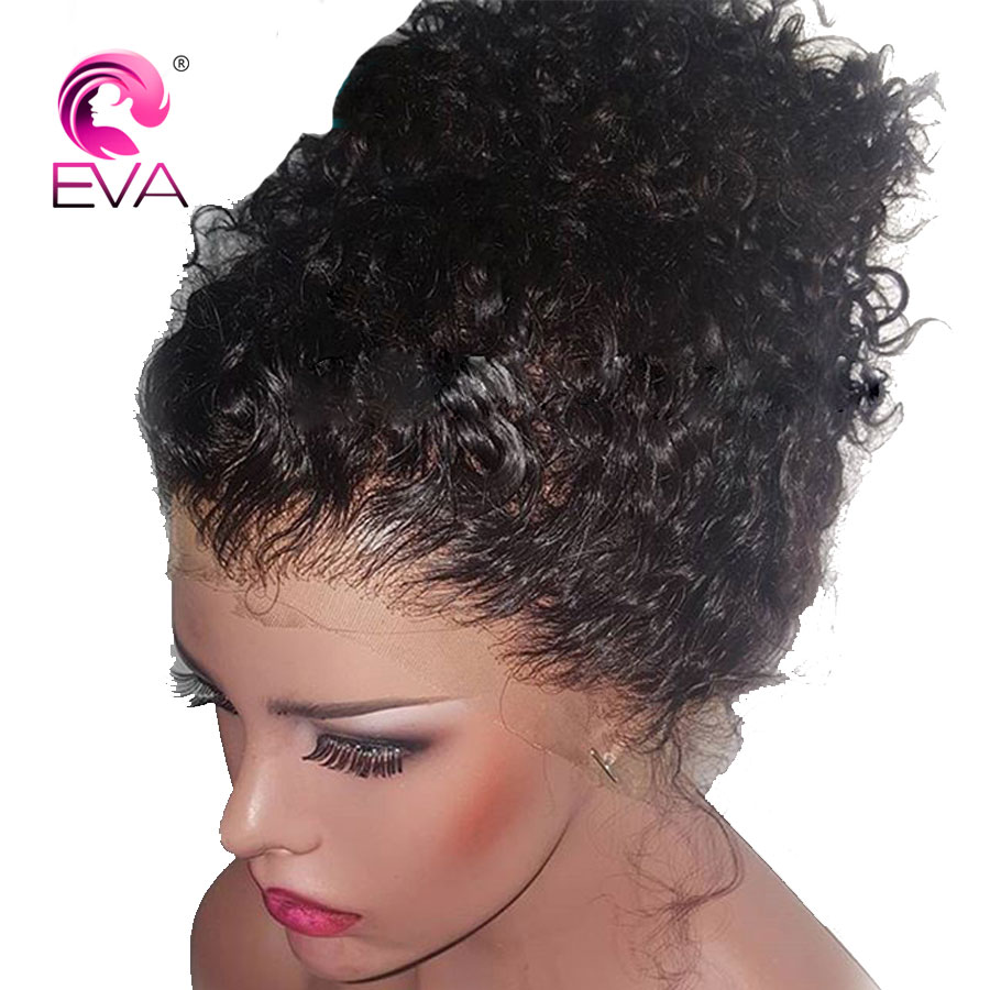 Eva Hair Lace Front Short Human Hair Wigs Pre Plucked Hairline With Baby Hair Glueless Curly