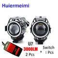 Huiermeimi 2 шт. светодиодные фары для мотоцикла 125 Вт 3000 мл вспомогательная фара для мотоцикла 12 В U5 U7 светодиодные фары для мотоцикла с ангельски...