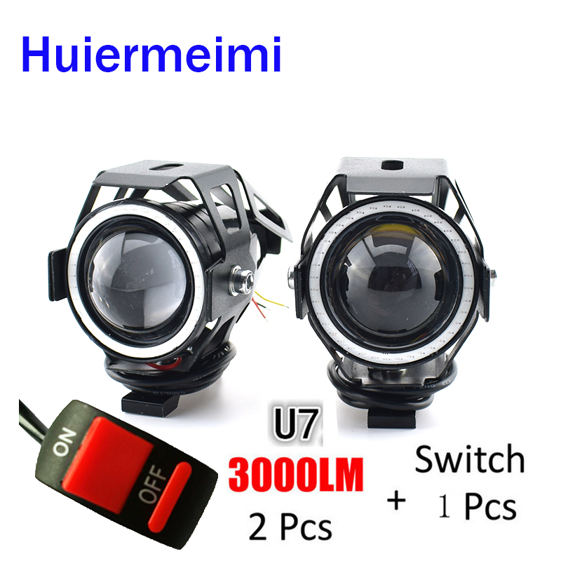 Huiermeimi 2PCS Motorcycle LED Headlights 125W 3000ml Moto Auxiliary Head Lamp Lights 12V U5 U7 LED Motobike Angel Eye Headlamp