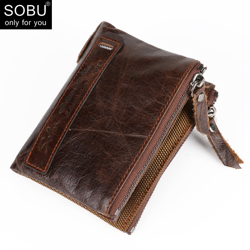 Genuine Crazy Horse Cowhide Leather Men Wallet Credit Business Card Holders Double Zipper Coin Purse Small Vintage Wallet A000 men wallet double zippers business clutch handbag purse pu leather coin card holders purses lt88