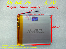 Bateria de Polímero Li-ion para Tablet 1 Pcs 3.7 V 2500 Mah 366475 de Iões Lítio e bateria Pc Gps Banco Potência Pipo