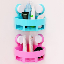 Plastic single layer Corner Cosmetics storage basket with 2 sucker bathroom shower debris draining racks