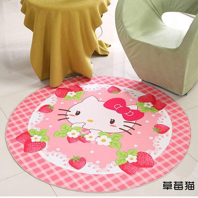 60x60 Cm Hello Kitty Carpet Fußmatten Erdbeere Rosa Runde Teppiche