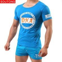 Soutong ผู้ชาย Homme ชุดผ้าฝ้ายนุ่มสบายชุดนอนแขนสั้นชาย Sleep กางเกงสั้นบ้านชุดชุดนอน