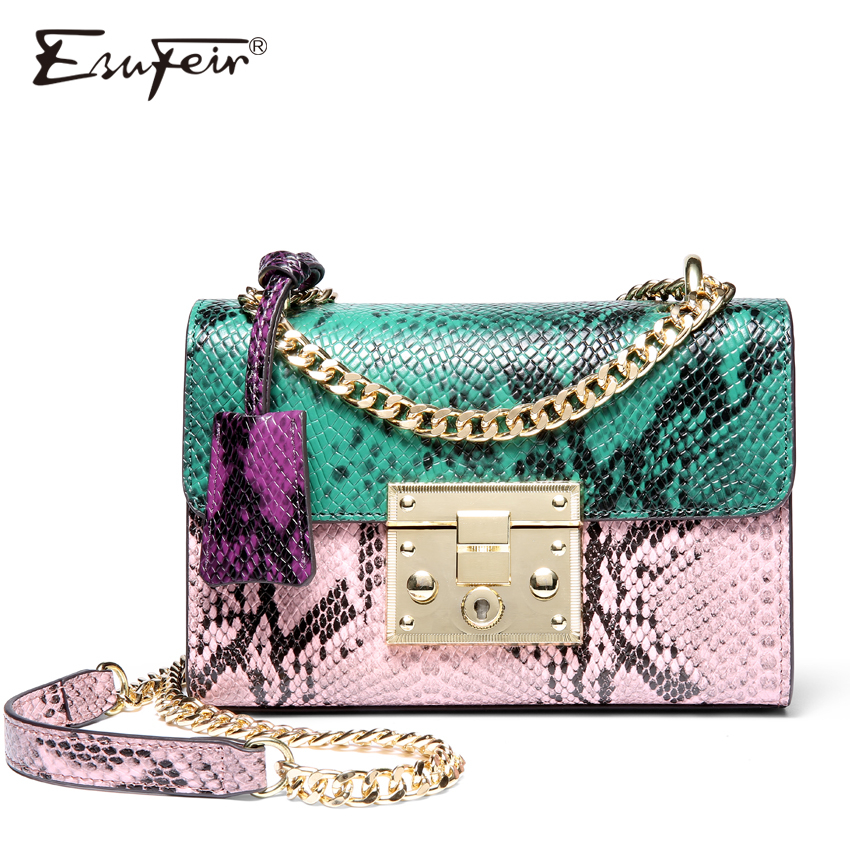 ESUFEIR Brand Women Messenger Bag Genuine Leather Serpentine Panelled Crossbody Bag Fashion design Shoulder Bag Chains