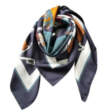 Horse Head Scarf Femme Women Bandanna Pure Twill Silk Soft Luxury Brand Design 110*110cm Square Shawl Wrap Handmade Curl