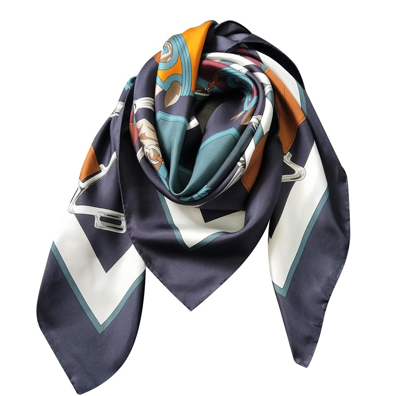 Horse Head   Scarf   Femme Women Bandanna Pure Twill Silk   Scarf   Soft Luxury Brand Design 110*110cm Square Shawl   Wrap   Handmade Curl
