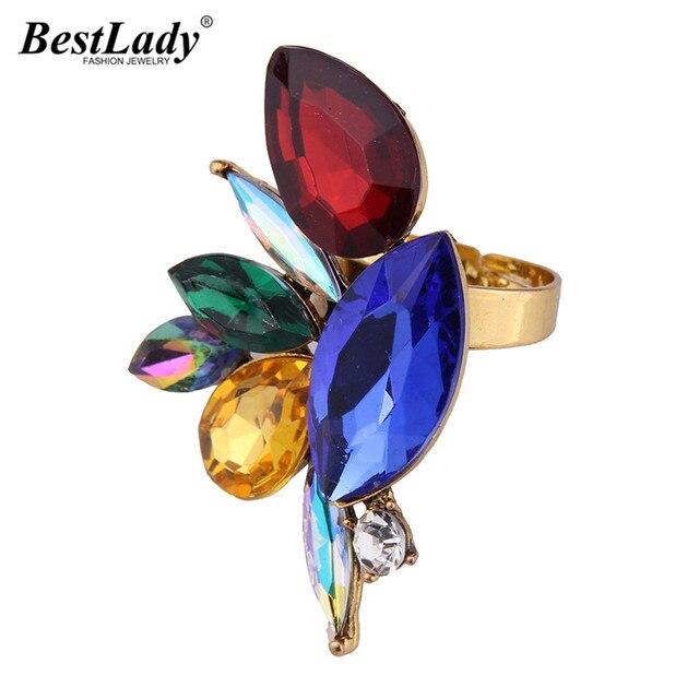 Best lady xFashion Statement Jewelry Multicolored Bohemian Maxi Rings Luxury Ope