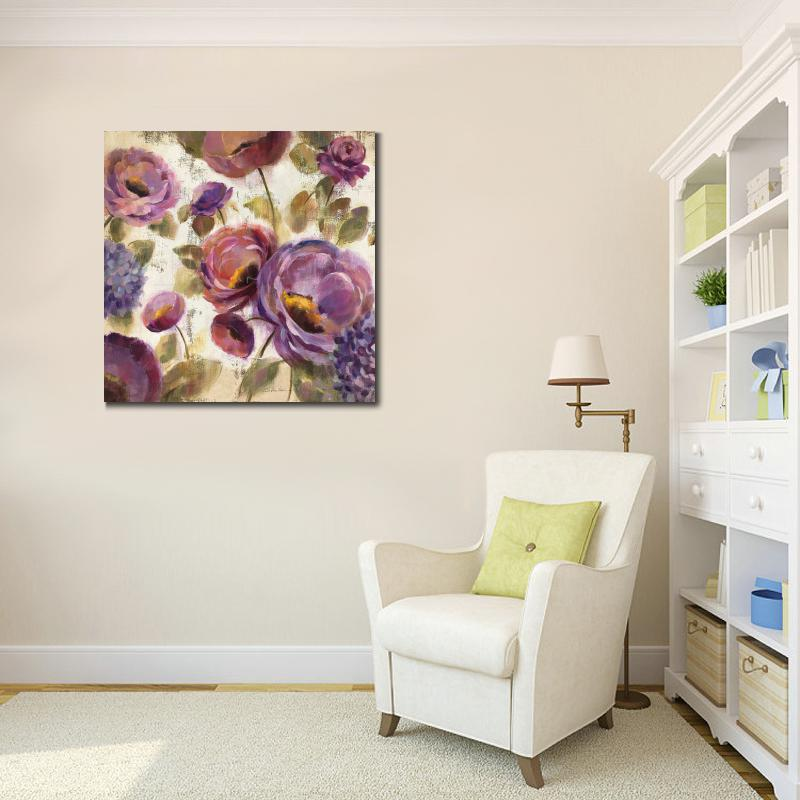 Hand Painted Flower Oil Paintings Abstract Blue And Purple Flower