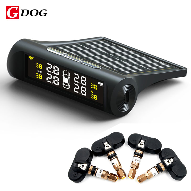 G-DOG X1 wireless TPMS solar power tire pressure monitor system with internal sensors LED display black case for 4 wheels car